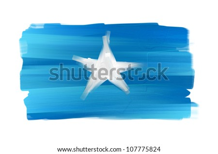 Somalia hand painted national flag isolated on white - stock photo