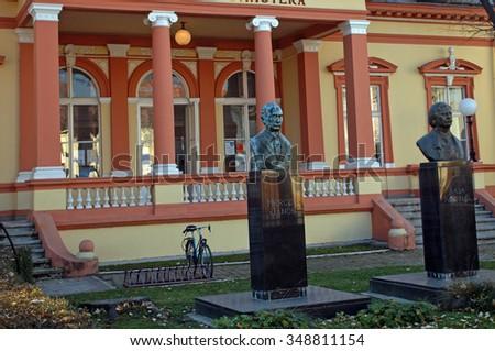 SOMBOR - NOVEMBER 13 : City Library at 13 November 2015 in Sombor, Serbia. The library in Sombor is in a 19th century historical building. - stock photo