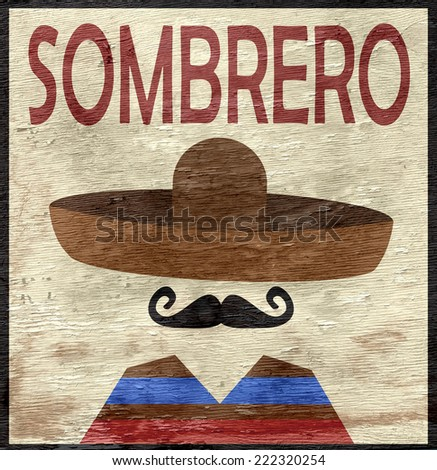 sombrero sign with wood texture - stock photo