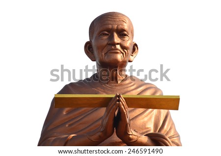 Somdej Toh known formally as Phra Buddhacharn Toh Phomarangsi, was one of the most famous Buddhist monks during Rattanakosin Period. This statue location at Wat Bot Temple in Pathumthani Thailand. - stock photo