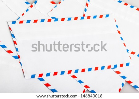 some air mail envelopes shooten with studio flashes - stock photo