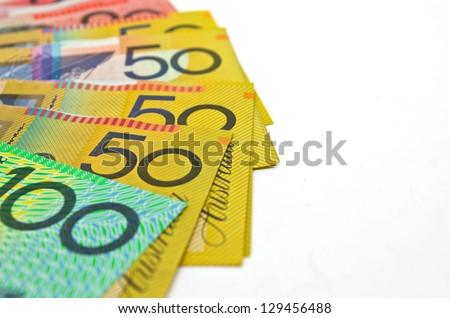 some Australian money on white background - stock photo