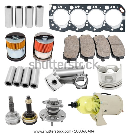 some auto spare parts, isolated over white - stock photo