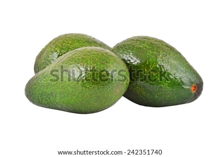 Some avocado fruit, isolated on a white background - stock photo