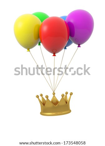 Some balloon and a crown - stock photo