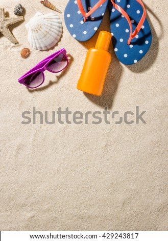 Some beach accessories with copy space