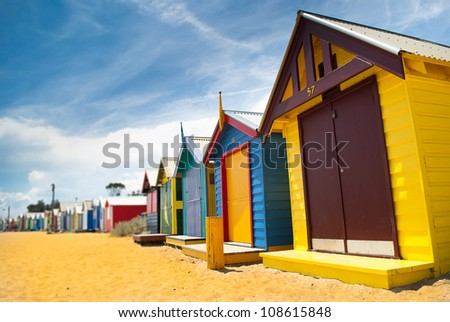 Some beach huts in perspective. - stock photo
