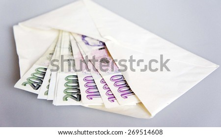 Some bills in an envelope - Czech crown - stock photo