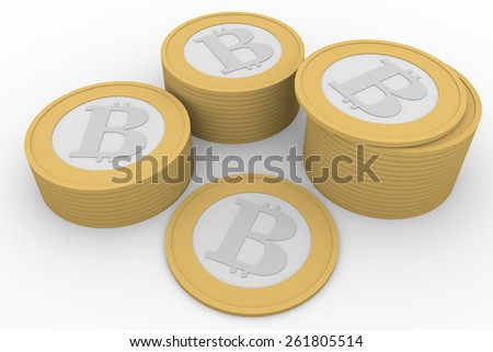 Some bitcoins stacked. Bitcoin is virtual money for internet trading and business - stock photo