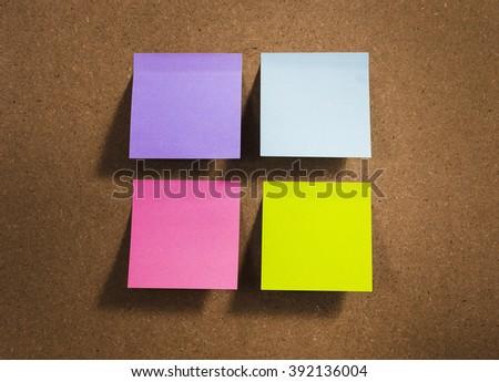 Some blanks notes on cork board (bulletin board) - stock photo