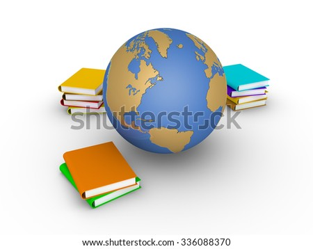 Some books are stacked and the globe is near them - stock photo