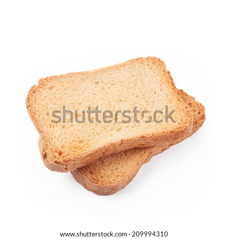 some bread rusks isolated on a white background - stock photo