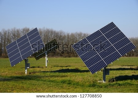 Some bright solar panels in the nature