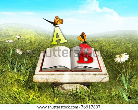 Some butterflies are stealing letters from an open book in a beautiful meadow. Digital illustration.