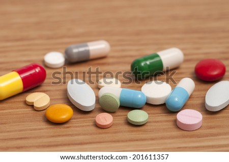 Some capsules and pills on the table