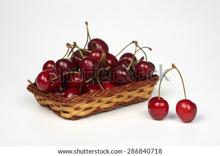 some  cherries on a white background
