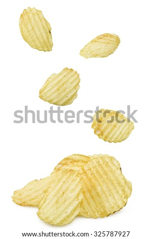 some chips falling on a white background