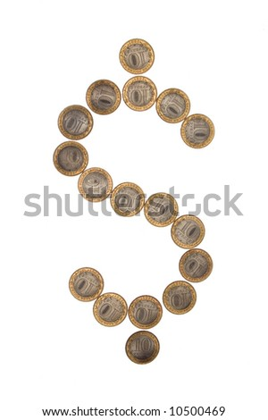 Some coins as dollar symbol. Russian currency. Isolate on white - stock photo