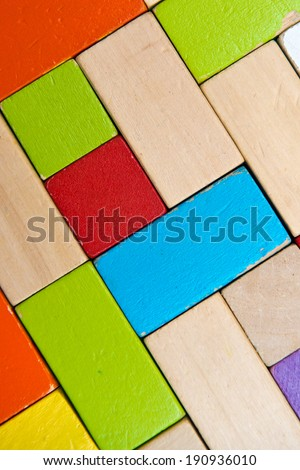 some colored, wooden blocks creates a background - stock photo