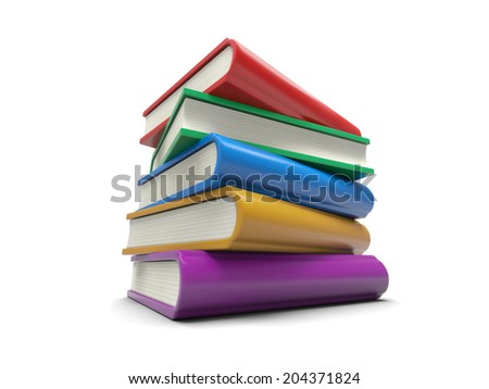 Some colorful books Isolated on White Background - stock photo