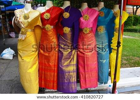 Some colorful traditional Asian women's clothing near the Wat Arun complex