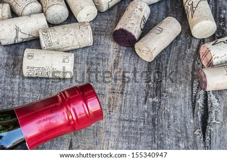 Some corks with a bottle