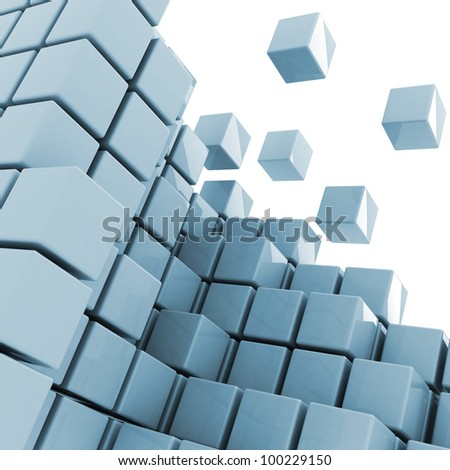 some cubes getting detached abstract background