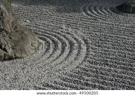 Some detail of a Zen garden in Kyoto.  The gravel has been raked by monks.  These gardens typically contain sand or gravel and bare stones.