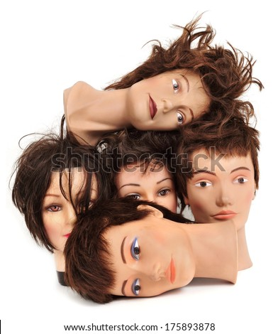 some different mannequin heads on a white background - stock photo