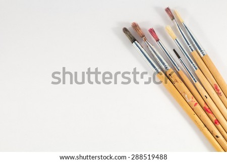 some dirty brushes - stock photo