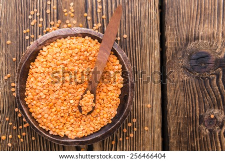 Some dried Red Lentils (detailed close-up shot) - stock photo