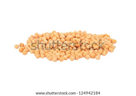 Some dry chickpea, isolated on white background - stock photo