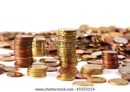 Some euro coins sorted, some not, yet - stock photo