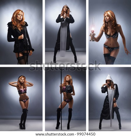 Some fashion images of young sexy woman - stock photo
