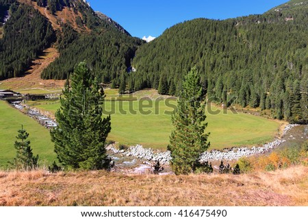 Some fast transparent streamlets connect to the rough river. Hillsides of the Alpine valley are covered with a dense coniferous forest - stock photo