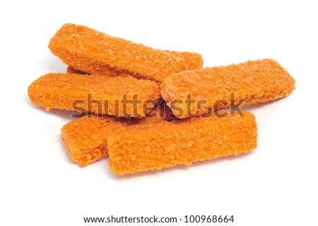 some fish sticks on a white background - stock photo