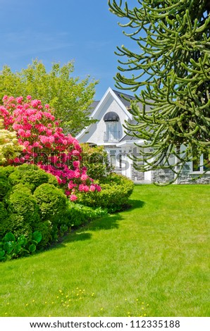 Some flowers and nicely trimmed bushes on the lawn in  front of the house. Landscape design. - stock photo