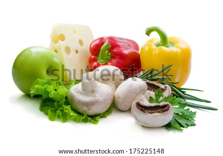 Some fresh champignon, vegetables, spicy herbs and cheese. - stock photo