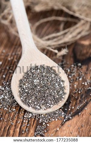 Some fresh Chia Seeds (detailes close-up image) - stock photo
