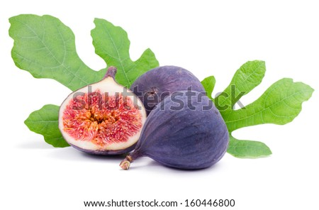 Some fresh,juicy figs with green leaves  isolated on white background  - stock photo