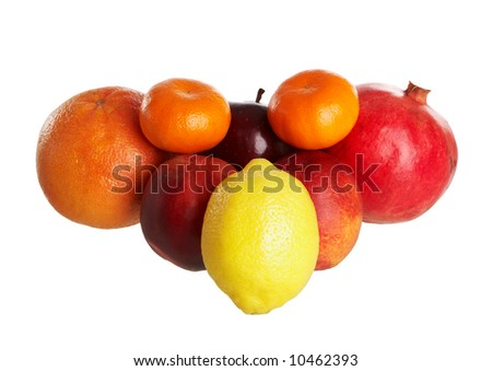 Some fruits isolated on a white background - stock photo