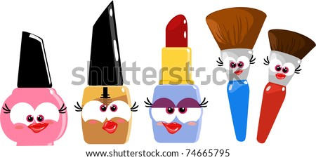 Some funny cartoon makeup objects