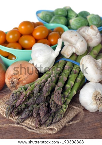 some healthy vegetable display in the market place
