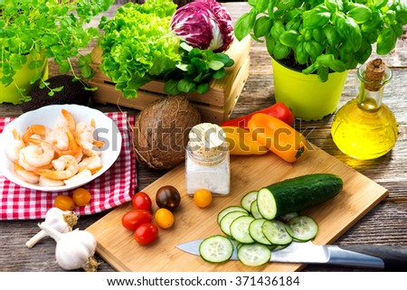 Some ingredients for healthy lunch  - stock photo
