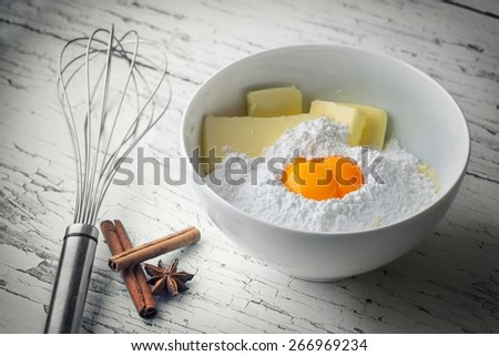 some ingredients for the manufacture of homemade sweet pastry - stock photo