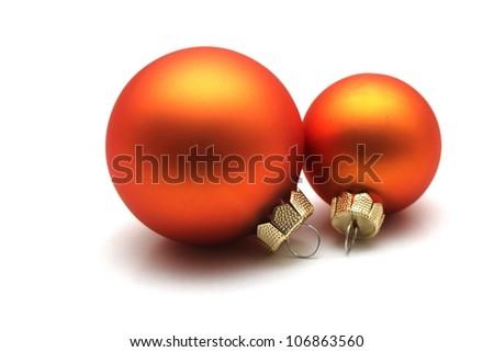 some isolated orange christmas spheres - stock photo