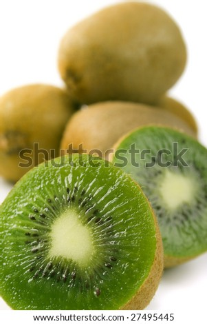 some kiwi closeup on white background