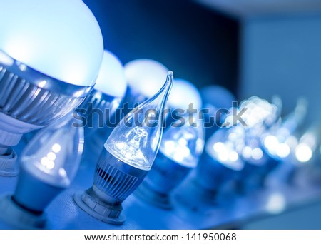some led lamps blue light science and technology background - stock photo