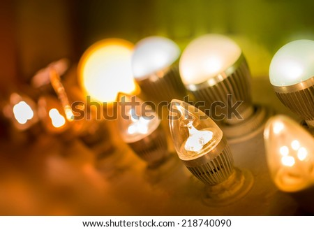some led lamps light science and technology background - stock photo