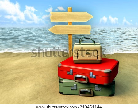 Some luggages and a tourist sign on a sunny beach. Digital illustration. - stock photo
